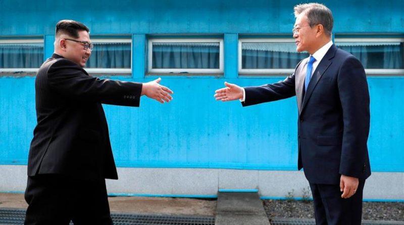Kim Jong-Un Corea del Nord e Moon Jae-In Corea del Sud