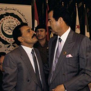 Il Presidente dello Yemen Saleh con il Ppresidente dell'Iraq Saddam Hussein