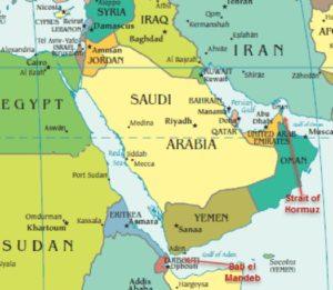 Mappa Medioriente rotte commerciali petrolio Stretto Hormuz Iran stretto Bab el mandeb yemen gibuti