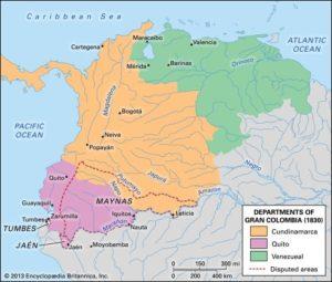 Mappa gran colombia indipendenza venezuela ecuador