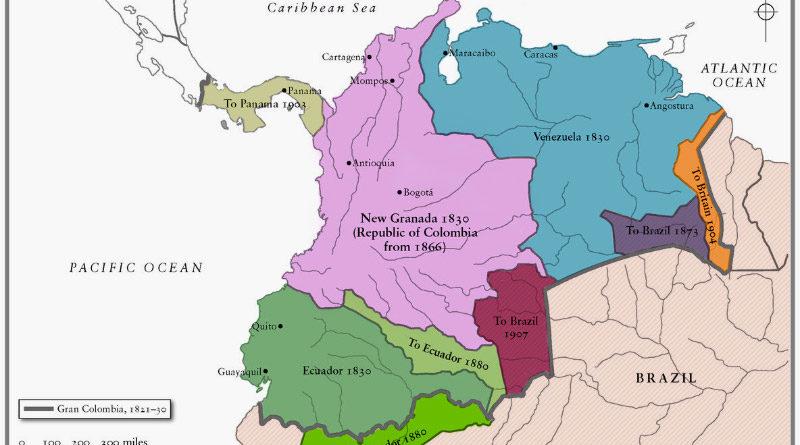 Mappa grande colombia venezuela bolivar