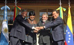 Presidenti sudamericani Argentina Kirchner Bolivia Evo Morales Brasile Lula Venezuela Chavez