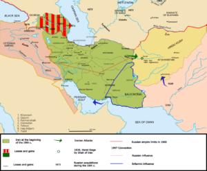 Mappa Persia Qadjar Caucaso Azerbaijan Georgia Russia Afghanistan