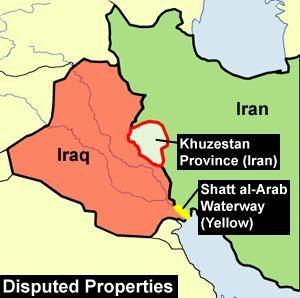 Mappa crisi confini Iiraq Iran Shatt al-Arab Khuzestan