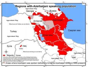 Mappa Iran Azerbaijan regione minoranza azera