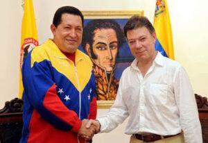 Presidente Venezuela Hugo Chavez e Juan Manuel Santos Colombia